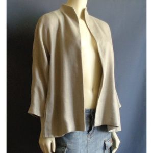 Eileen Fisher Beige Linen Blend Swing Jacket S